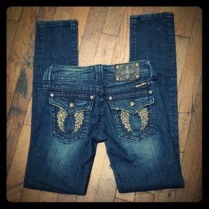 Miss Me Jeans. Sz 26. Jeweled Angel Wing